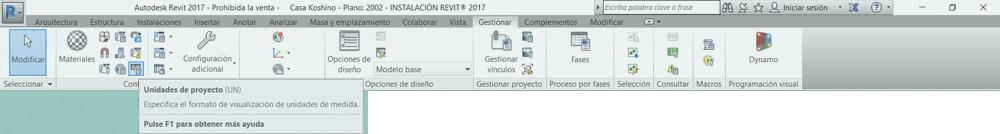 Configuración de las unidades Revit