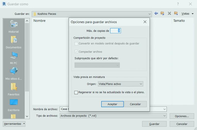 Configurar las copias de seguridad en Revit