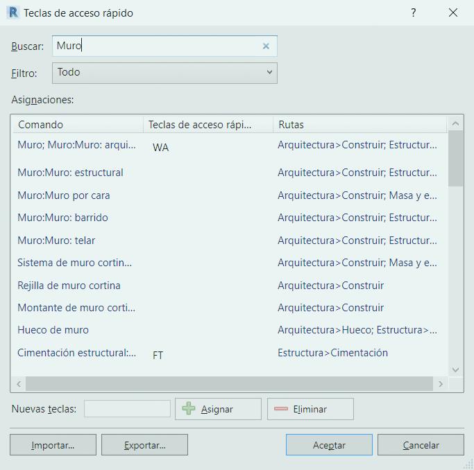 Configuración de los atajos de teclado en Revit