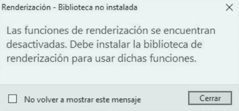 Las funciones de renderización se encuentran desactivadas. Debe instalar la biblioteca de Revit