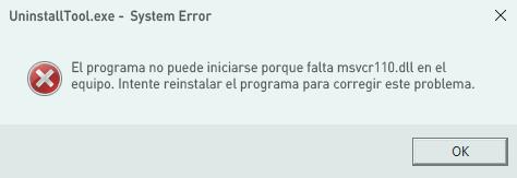 El programa no puede iniciarse porque falta msvcr110.dll en el equipo.